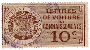 (I.B) France Colonial Revenue : Tunisia Bill of Lading 10c (Rail Freight)