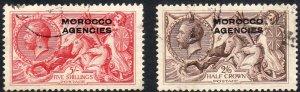1925 - 1931 GB offices in Morocco KGV Britannia set used Sc# 218 219 $129.00