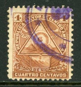 Nicaragua 1896 Seebeck 4¢ Coat of Arms Unwmk VFU B888   ⭐⭐⭐⭐⭐⭐