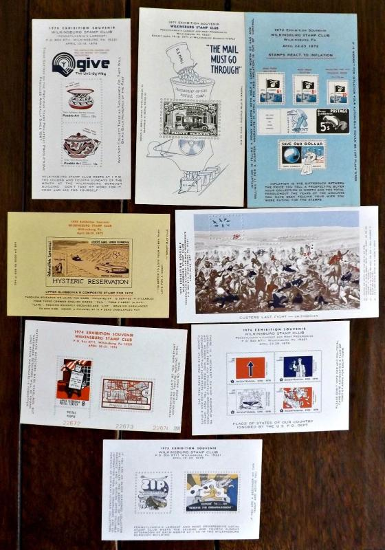 1970s Wilkinsburg, PA. Stamp Club Exhibition Souvenir Sheets - 8 Issues -