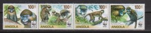 2011 Angola Scott 1364 Macaques MNH strip of 4 folded once