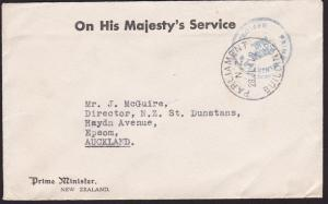 NEW ZEALAND 1947 OHMS cover Prime Minister frank, Parliament cds............7020