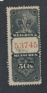 Canada Revenue W&M Stamp #FWM15-5c Used Fine+ Guide Value = $65.00