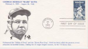 1983 BABE RUTH 20 Cent FDC, KMC Venture