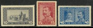 BOSNIA AND HERZEGOVINA 1917 ARCHDUKE P.11 1/2 Semi Postal Set Sc B13a-B15a MNH
