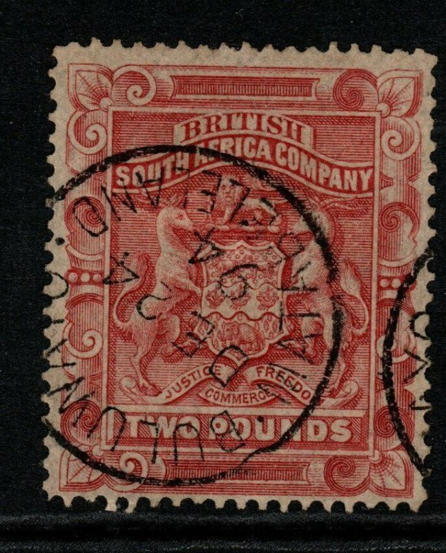 RHODESIA SG11 1892 £2 ROSE-RED FINE USED