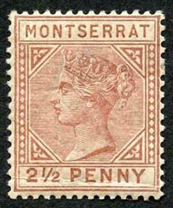 Montserrat SG9 2 1/2d red-brown wmk crown CA (small gum thin) M/Mint