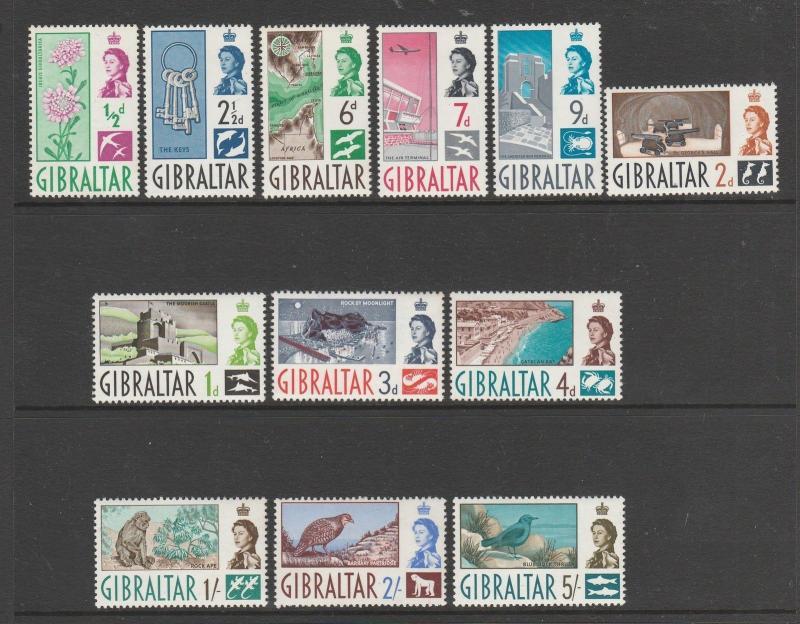 Gibraltar 1960 Defs to 5/- MM SG 160/171