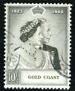 GOLD COAST KGVI SG.148 10s Silver Wedding 1948 Used ROYALTY Cat £55 LBLUE92