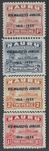 Nauru, Scott #31-34; King George V Silver Jubilee, MLH