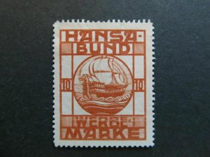 A4P4F53 Reklamemarke Hansa-Bund mint no gum