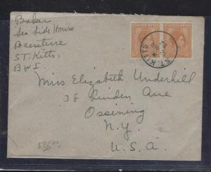 ST KITTS NEVIS (P1609B) 1952 KGVI  1 1/2DPR COVER TO USA