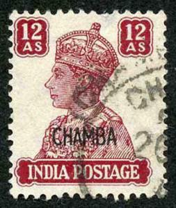 CHAMBA STATE SG119 KGVI 12a Fine Used (genuine postmark) short perf