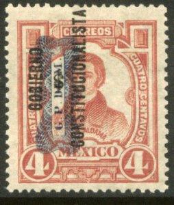 MEXICO 531, 4¢ Corbata & Gobierno $ overprints, UNUSED, H OG. VF.