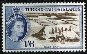 TURK & CAICOS Is. 1957 QE II 1/-6d SEPIA & BLUE UNUSED (MH) SG 247 Wmk.w12 VGC