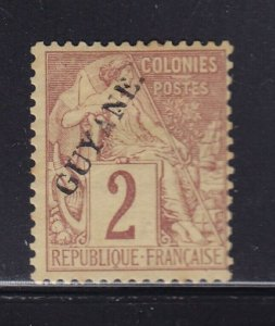 French Guiana Scott # 19 F-VF OG previously hinged nice color scv $ 45 see pic !