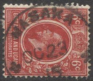 EAST AFRICA & UGANDA 1912 Sc 42  6c Used VF,   MASAKA postmark/cancel