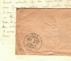 IRAQ WW1 Cover INDIA *FPO 372* Somerset Light Infantry 1918 Soldier Letter MAL15