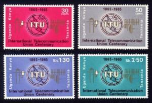 Kenya, Uganda and Tanzania Sc# 152-5 MNH ITU Centenary