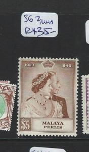 MALAYA PERLIS (PP2612B) KGVI SILVER WEDDING SG 2  MNH