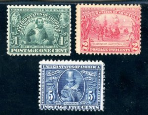 USAstamps Unused FVF US Jamestown Complete Set Scott 328, 329, 330 OG MNH