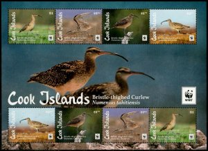 HERRICKSTAMP NEW ISSUES COOK ISLANDS Sc.# 1587a WWF Bristle-Thighed Curlew Bird