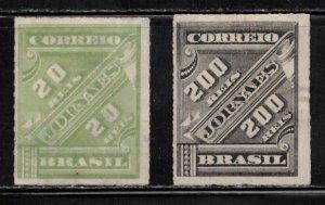 BRAZIL Scott # P11, P14 Mint NO GUM - Newspaper Stamps