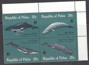 Palau 24-7 MNH Block of 4, Whales
