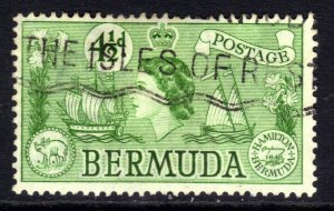 Bermuda 1953 - 62 QE2 4 1/2d Emerald Used SG 142 ( J683 )