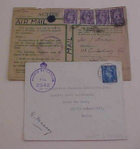 SUDAN FPO 238,FPO 22 GREEN 1943 TO ENGLAND BOTH CENSORED