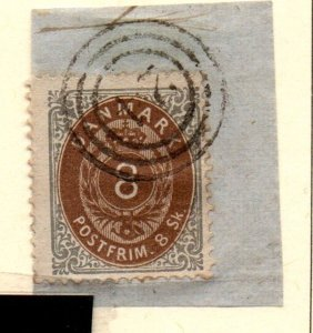 Denmark Sc 19 1871 8s gray & brown Arms stamp used on piece
