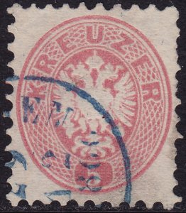 Austria - 1863 - Scott #24 - used - Blue cancellation