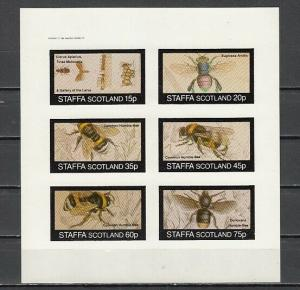 Staffa, Scotland Local. 1982 issue. Honey Bees, IMPERF sheet of 6.