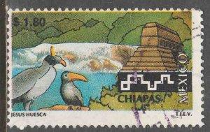 MEXICO 1961 $1.80 Tourism Chiapas, birds, pyramid. USED. F-VF. (1487)