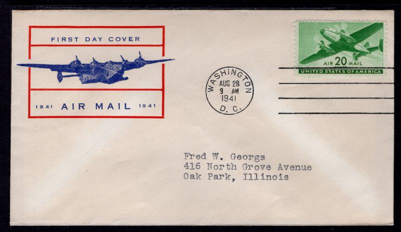 US C29 Airplane Unknown Typed FDC