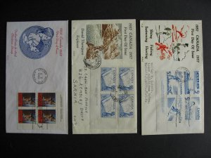 Canada 3 HE cachet FDC first day covers with plate blocks, check them out!