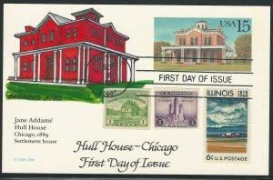 U.S., Scott #UX134, 15c Hull House, Russ Benning Handpainted Cachet F.D.C.
