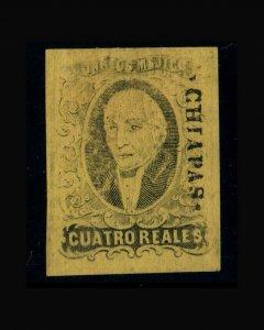 VINTAGE: MEXICO 1861 UNU,POG,HR SCOTT # 9 $ 200 LOT # MEX1861CH