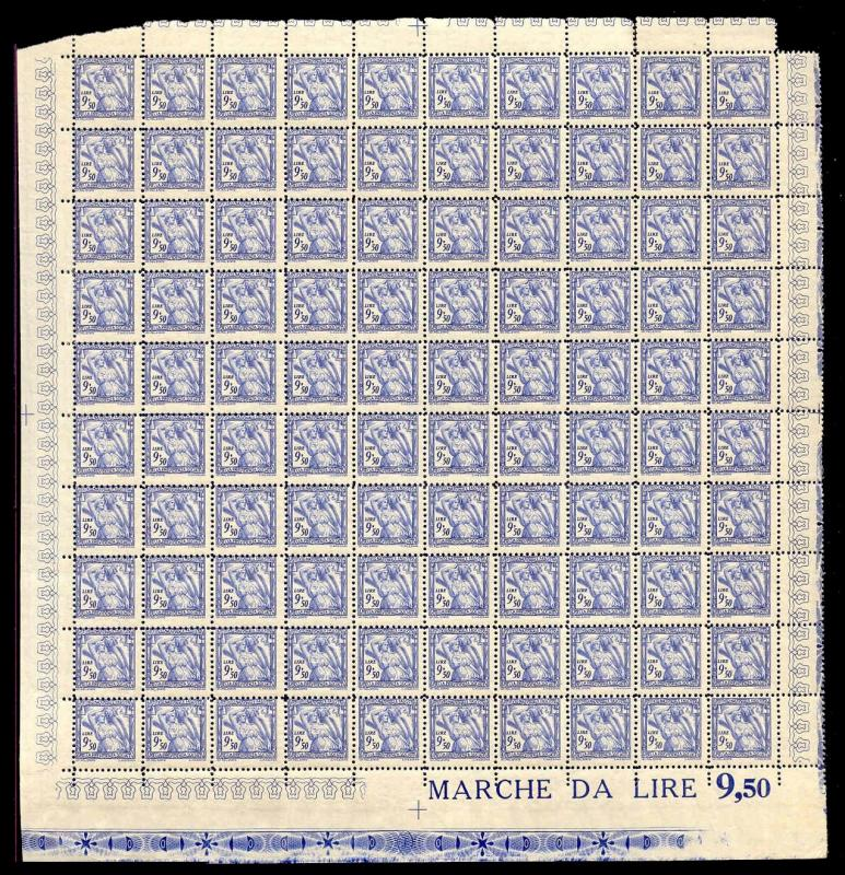 Italy 1941 9.50 L Fascist Social Security Stamp Mint Sheet #23A