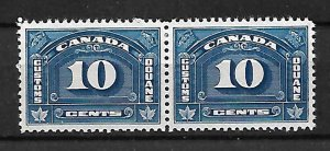 CANADA CUSTOM DUTY FISCAL REVENUE TAX STAMP 10c, PAIR, MNG