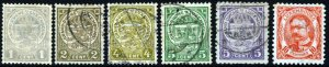 LUXEMBOURG 1906-19 Grand Duke William IV Group SG 157 to SG 162 VFU