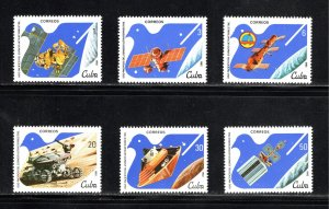 CUBA Sc# 2501-2506  PEACEFUL USE OF OUTER SPACE  Cpl set of 6  1982  MNH