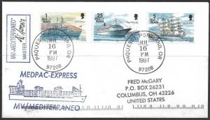 1997 Paquebot Cover, Isle of Man stamps used in Portland Oregon
