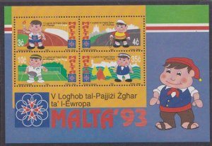 Malta # 818a, 5th Small States Games, Souvenir Sheet, Mint NH, 1/2 Cat..