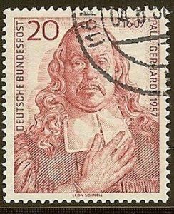 Stamp Germany Sc 0763 1957 Bundespost Paul Gerhardt Lutheran Hymn Writer Used