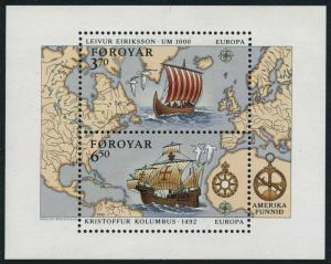 Faroe 236-38,MNH.Michel 231-232,Bl.5. EUROPE CEPT-1992,Left Erikson,Columbus.