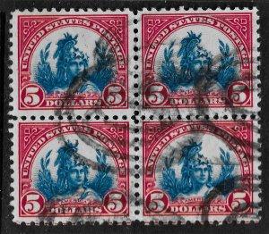 US 1923 Sc. 573 used block of 4, FVF,Cat. Val. $95.00