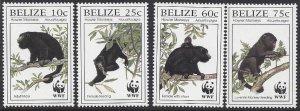 Belize # 1083-6 MNH set, WWF howler monkey, issued 1997