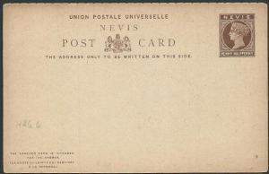 NEVIS QV 1½d+1½d reply postcard fine unused................................46967