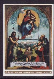 Niue-Sc#B61-unused NH sheet-Christmas-Pope John Paul II visit-Paintings-1986-